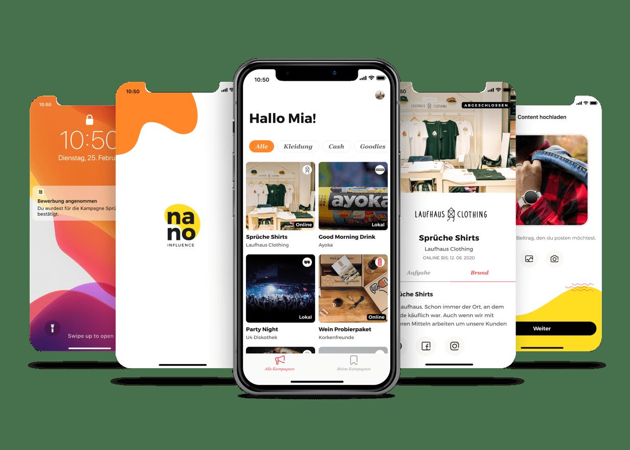 Mockup Phone Screens for Nano-Influencer